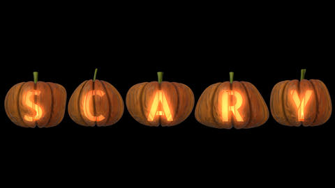 Carved Pumpkin Letters forming the text Scary Animation