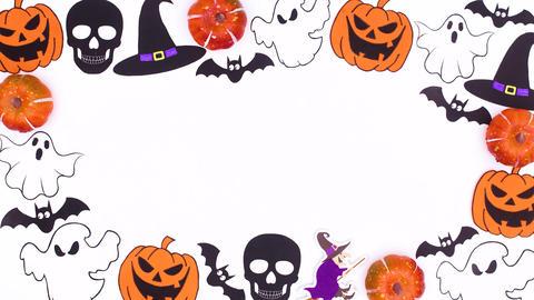 Halloween creepy decoration on white theme. Happy Halloween stop motion animation Animation