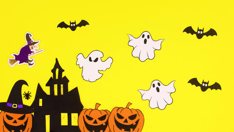 Scary Halloween stickers on yellow theme. Happy Halloween stop motion Animation