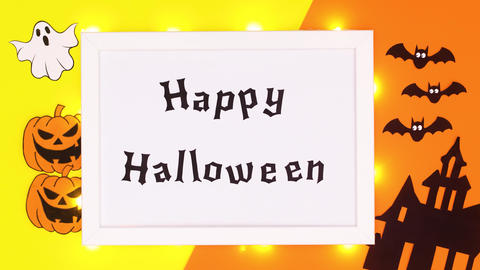 Halloween frame on orange yellow theme with Halloween stickers. Happy Halloween stop motion Animation