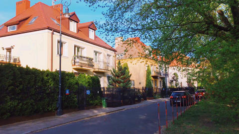 Private residential houses in historical neighborhood, architecture and real Live Action