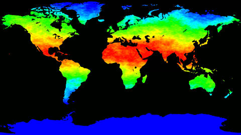 World map thermo waves seamless loop Animation