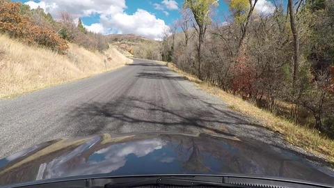 POV front of car hood mountain canyon fast HD 962 ภาพวิดีโอ