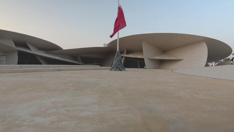 National museum of Qatar in Doha Qatar interior daylight walking in shot Live Action