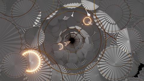 Modern Paper Fan On Wall 02 Animation