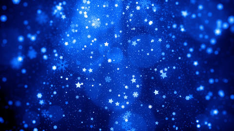 Christmas blue lights shine particles bokeh loopable with snowflakes and stars falling background 動畫