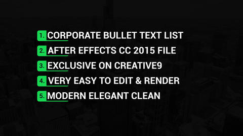 Corporate Bullet Texts After Effects Template