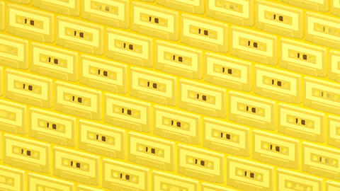 Many yellow cassette tapes on yellow background Animation