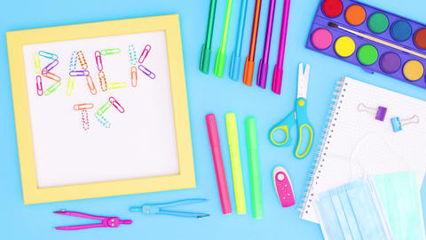 Back to school stop motion with school stationery and frame with back to school text Animation
