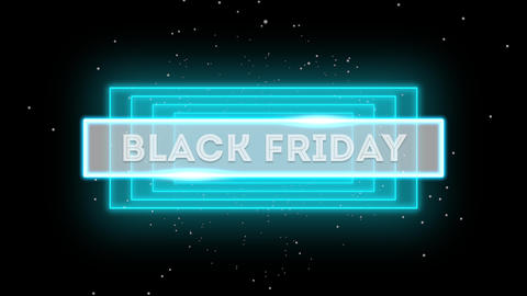 Animation intro text Black Friday on fashion and club background with glowing shapes Animation