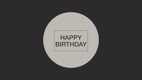 Animation intro text Happy Birthday on black fashion and minimalism background with geometric shape Animation