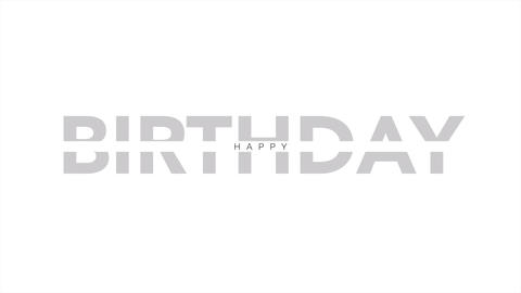 Animation intro text Happy Birthday on white fashion and minimalism background Animation