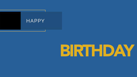 Animation intro text Happy Birthday on blue fashion and minimalism background with geometric shape Animation