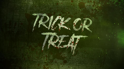 Animation text Trick or Treat on mystical on mystical horror background with dark blood Animation
