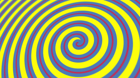 Blue, Red and Yellow Hypnotic Spiral Animation Animation