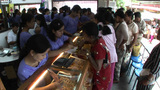 Vendors Sell Gold Bracelets In An Open Market Near Buddhist Temples In Pagan Of Burma, Myanmar stock footage