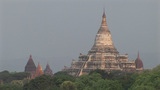 Trees Surround Ancient Stone Buddhist Temples In Pagan Of Burma, Myanmar stock footage