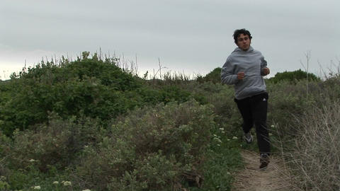 A jogger runs down a trail Stock Video Footage