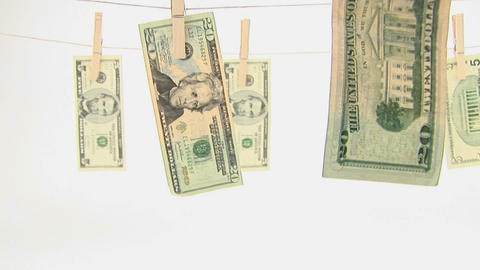 Money hangs on a clothesline Stock Video Footage