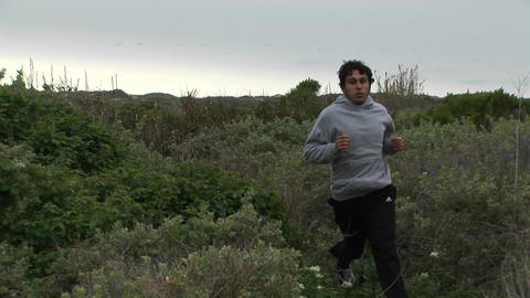 A young man jogs by on a lush trail Stock Video Footage