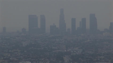 Smog hangs on the distant cityscape Stock Video Footage