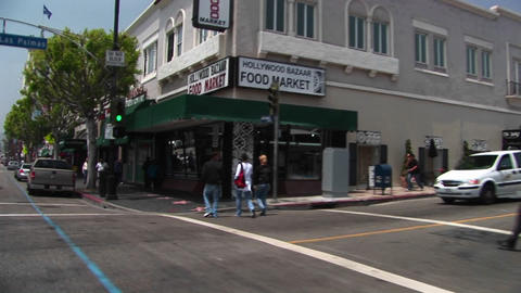 Tourists walk around Hollywood Stock Video Footage