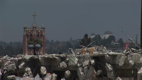 Pigeons walk on a pile of rubble Stock Video Footage