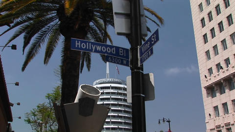 The Capitol Record Building Rises Near The Intersection Of Hollywood And Vine stock footage