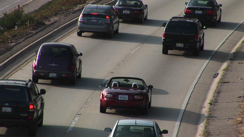 A sports car drives on the interstate Footage