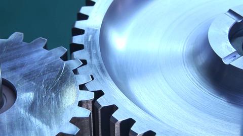 Mechanical gears rotate Stock Video Footage