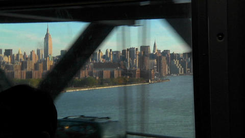 View of the New York skyline as seen from a passenger... Stock Video Footage