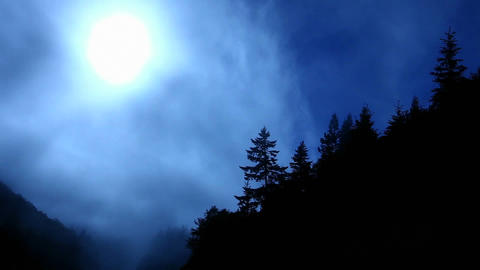 Fog rolls past a forested mountain top Footage