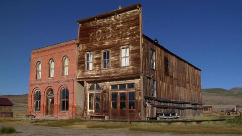 Old buildings in the historic ghost town of Bodie, California Footage