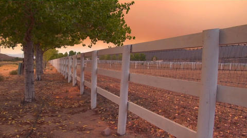 The sky is red from a forest fire burning in the distance Stock Video Footage