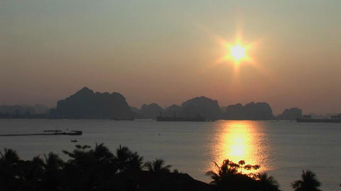 A beautiful sunset over the Mekong River in Vietnam Footage