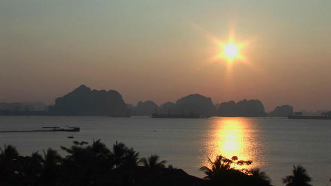 A beautiful sunset over the Mekong River in Vietnam Stock Video Footage