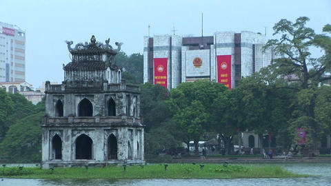 A temple on an island in downtown Hanoi, Vietnam Footage
