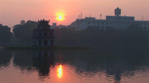 A sunset behind Hanoi, Vietnam Stock Video Footage