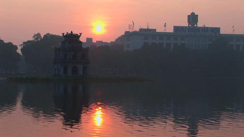 A sunset behind Hanoi, Vietnam Footage
