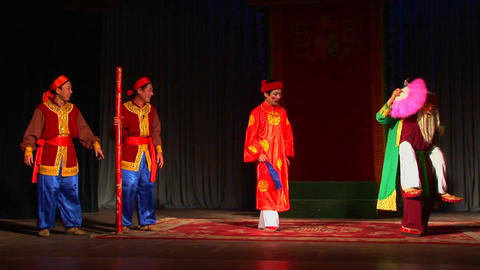 Characters perform in a Vietnamese opera Stock Video Footage