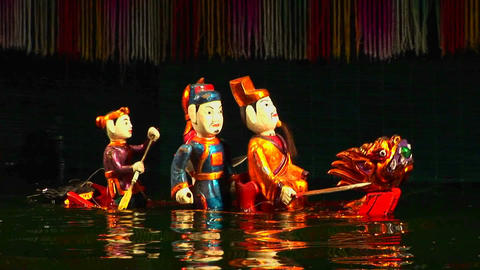 A traditional water puppet show in Vietnam Footage