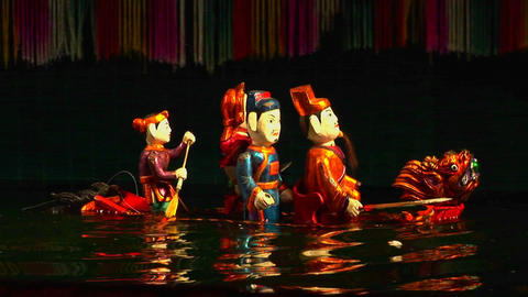 A traditional water puppet show in Vietnam Stock Video Footage