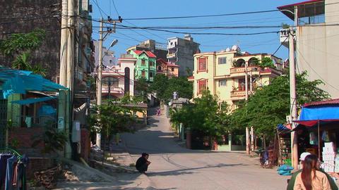 An establishing shot of a Vietnamese town Stock Video Footage