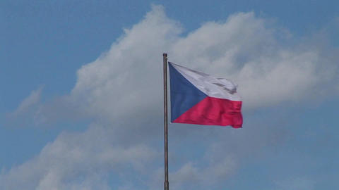The flag of the Czech Republic flies in the breeze Footage