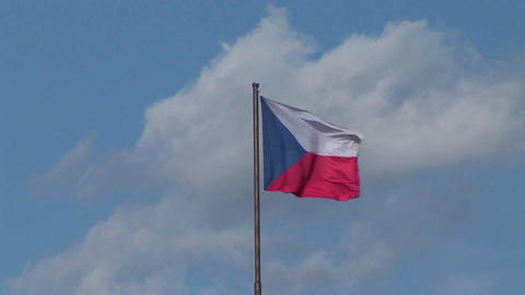 The flag of the Czech Republic flies in the breeze Stock Video Footage