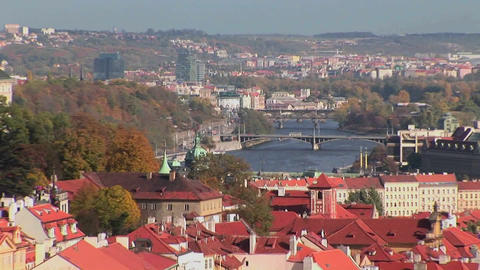 A view across Prague in the Czech Republic Footage
