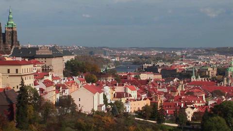 A view across Prague in the Czech Republic Stock Video Footage