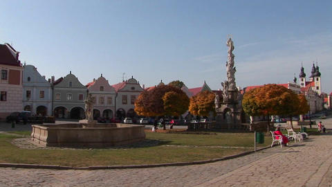 A central square in a quaint town in the Czech Republic Stock Video Footage