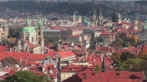 A beautiful panoramic overview of Prague, Czech Republic Stock Video Footage