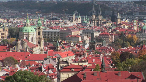 A beautiful panoramic overview of Prague, Czech Republic Footage